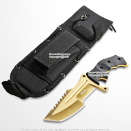 "10"" CS Go Huntsman Tactical Fixed Blade Bowie Knife with Gold Finish Blade"