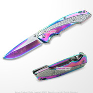 Spring-Assisted Folding Knife Emerald Rainbow Titanium Tactical Blade
