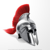 Greek Corinthian Spartan Helmet Medieval Helm with liner Red Crest LARP