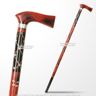 36'' Handcrafted Natural Eucalyptus Tribal Wars Wooden Cane Walking Stick