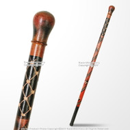 "35.5"" Knob Style Tribal Eucalyptus Wooden Stick Handcrafted Walking Cane"