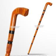 "36"" Handcrafted Eucalyptus Wood Gentlemen Walking Cane Stick Stripe Etched Shaft"