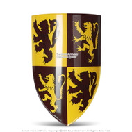 Scottish Rampant Lion Medieval Knight Heater Shield 18G Steel Grip Leather Strap