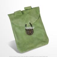 Medieval Light Green Renaissance Fair Costume Suede Leather Pouch Satchel Bag LARP SCA