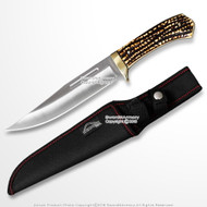 """12"""" Bowie Hunting Knife Fixed Blade Bowie with Faux Stag Horn Brass Guard"""