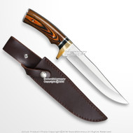 """12"""" Fixed Blade Full Tang Bowie Hunting Knife with Wood Handle Steel Spacer"""