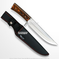 "12"" Razor Hunting Carrying Knife Black Wood Design  Handle & Sheath"
