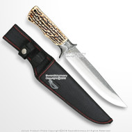 """12"""" Fixed Blade Full Tang Bowie Hunting Knife Faux Stag Horn Grip Steel Bolster"""