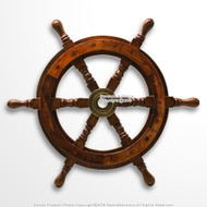 "15.5"" Captain's Shipwheel Handcrafted Wood and Brass Nautical Pirate Ship Wheel"