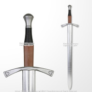 "40"" Medieval Hand and a Half Foam Arming Sword Metallic Chrome Blade Cosplay LARP"