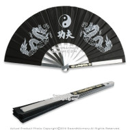 Martial Art Tai Chi Kung Fu Fighting Fan Steel Frame with Dragon