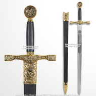 "32"" King Arthur Gold Excalibur Short Sword Fantasy Cosplay Collector's Item"