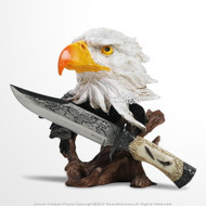Eagle Bust Statue Display Stand with Stainless Steel Hunting Knife Decorative Gift