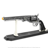 Chrome and Black Western Cowboy Black Powder Outlaw Revolver Pistol Replica Gun With Stand