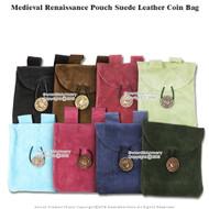Medieval Renaissance Fair Costume Suede Leather Pouch Satchel Bag LARP SCA