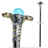 "34 "" Poly Resin Serpent Cobra Steel Shaft Walking Stick Gentleman's Cane"