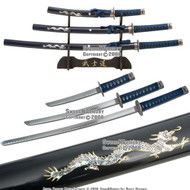 4 Pcs Dragon Slayer Samurai Katana Sword Set Blue