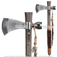 "19"" Indian Chief's Tomahawk Axe Hatchet with Tobacco Smoking Peace Pipe Feather"