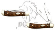 "6 "" Mastiff Wood Handle Double Stainless Steel Blades Pocket Folder Knife"