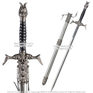 "31.5"" One Handed Medieval Skull Fantasy Sword with Steel Scabbard"