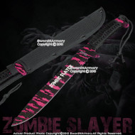 "16"" Full Tang Black and Pink Zombie Slayer Machete Killer Sword with Nylon Pouch"