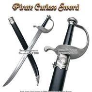 Caribbean Pirate Cutlass Sword With Bow Guard & Scabbard
