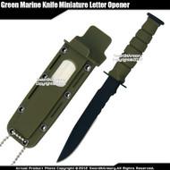 Green Small Marine Knife Replica Letter Opener Mini Dagger Drop Point Serrated