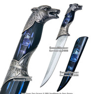 Wolf Fantasy Dagger Gift Knife With Colored Sheath