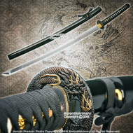 "41"" Hand Honed Samurai Katana Sword with Round Dragon Tsuba Sharp Edge"