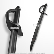 "Black 30"" Solid Wooden Pirate Cutlass Medieval Scimitar Sword with Grooves"
