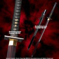 "41""  Fully Functional Handmade Black Dragon Ninja Sword Red Blade Sharpe Edge"