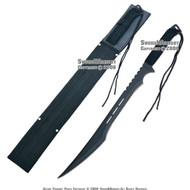 "27"" Full Tang Black Blade Fantasy Ninja Sword With Sheath"