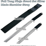 2 Pcs Full Tang Ninja Sword Set Silver Blade With Engraving