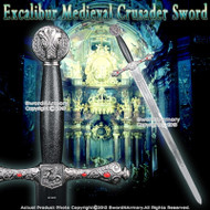 """41"""" Excalibur Medieval Crusader Knight Hand And A Half Arming Sword w/ Red Jewery"""