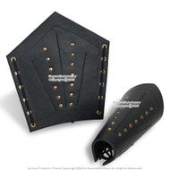 Pair Genuine Leather Arm Bracer with Brass Studs LARP Medieval Costume Cosplay
