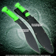 "16"" Zombie Hunting Machete Fixed Blade Survival Khukri Knife Green Handle"