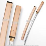 1045 Steel Shirasaya Samurai Katana Sword with Dragon Engraved Natural Wood Saya