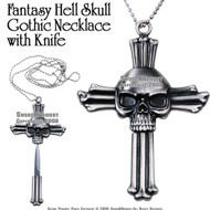Fantasy Hell Skull Gothic Necklace with Knife & Chain
