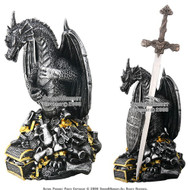 Fantasy Dragon Poly Resin Emperor Treasure with Sword Shield Letter Opener Gift