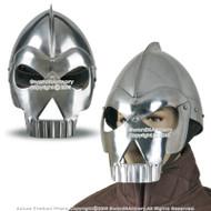 Medieval Fantasy Wearable Skull Crusher Steel Helmet LARP w/ Liner & Chin Strap