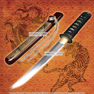 Red Tanto Handmade Carbon Steel Samurai Sword with Dragon and Tiger Scabbard New