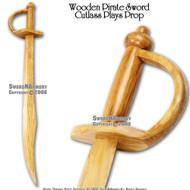 """30 """" Wooden Pirate Practice Sword Cutlass Prop"""