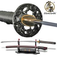 Munetoshi LionDog 1060 DH Handmade Differentially Hardened Samurai Katana Sword Red Saya