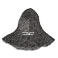 Medieval Chainmail Head Coif High Tensile 16G Steel Butted 9mm w/ Aventail LARP Large Size