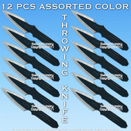 12 Pcs Assorted color Thrower Throwing Knife Set w/ Case