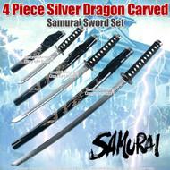 4 Piece Golden Dragon Carved Japanese Samurai Sword Set
