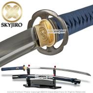 Skyjiro Deluxe Iaito Samurai Katana Training Sword w/ Blue Japanese Ito & Sageo