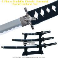 4 Pcs Bushido Classic Japanese Samurai Sword Katana Set