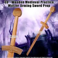 "38 "" Wooden Medieval Practice Waster Arming Sword Prop"