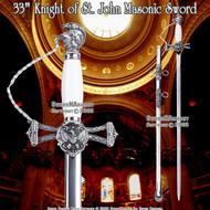 """33"""" Templar Knight of St. John Crusader Masonic Sword"""